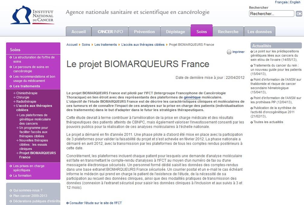 IFCT Biomarqueurs France soutenu par l'INCa