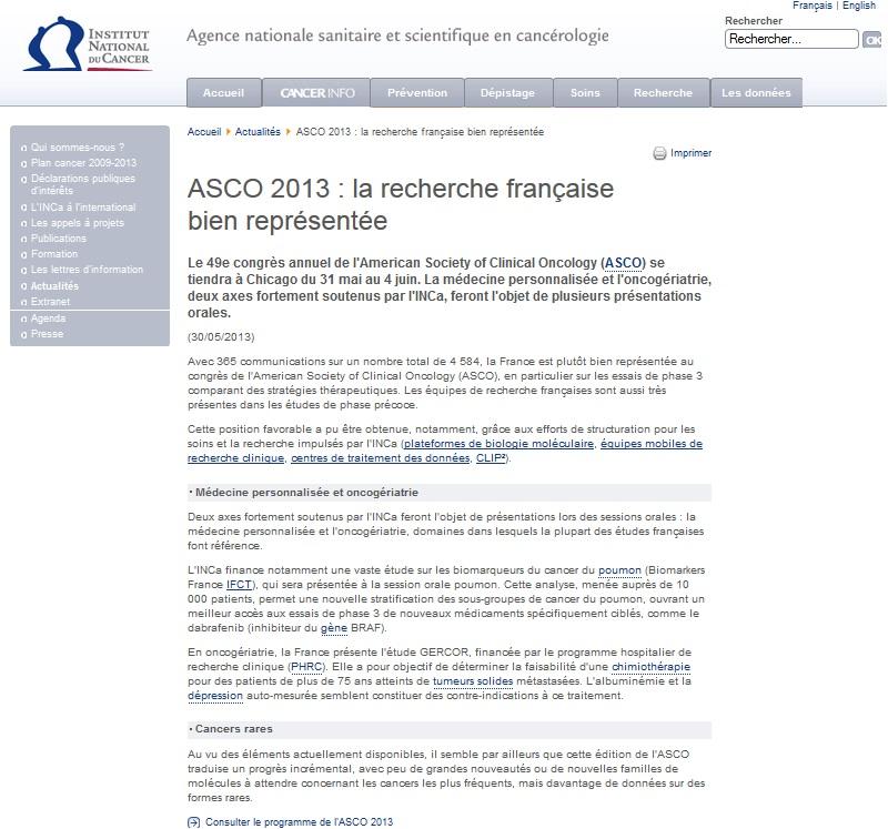 ASCO 2013 : la recherche française bien représentée par les GCO