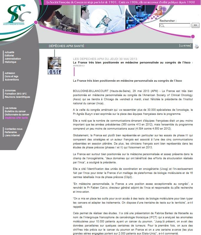 Société Française du Cancer - Les dépêches APM du jeudi 30 mai 2013